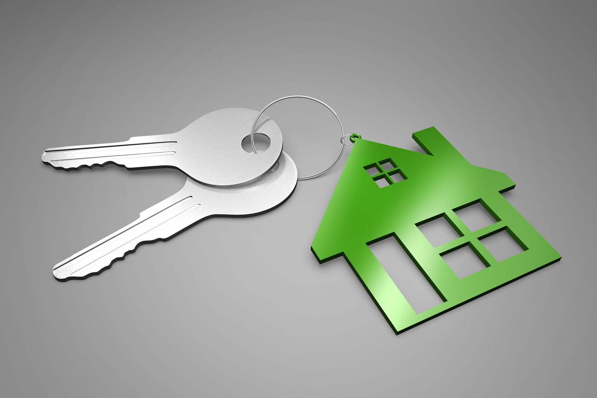 illustration av nyckelknippa med ett hus